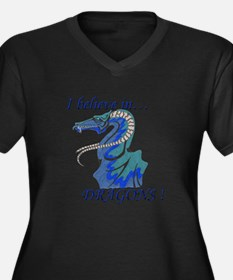 I Believe in DRAGONS! Women's Plus Size V-Neck Dar