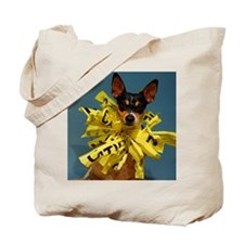 Small dog rat terrier with collar of caut Tote Bag
