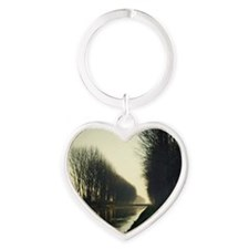 Adda river canal in Lombardy countr Heart Keychain