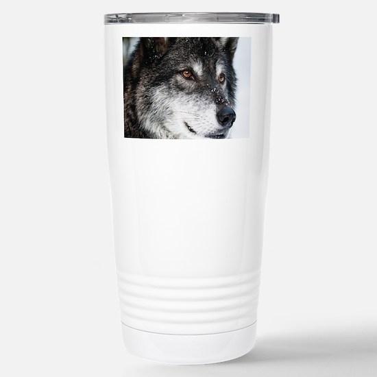 Beautiful Grey Wolf Travel Mug