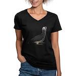 Baby African Gray Parrot Women's V-Neck Dark T-Shi