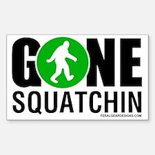 Gone Squatchin Black/Green Log Sticker (Rectangle)