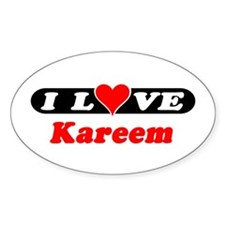 I Love Kareem Oval Decal