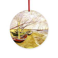 Van Gogh Fishing Boats on Beach Ornament (Round)