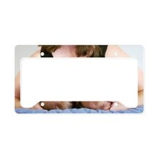 Mother breastfeeding twin bab License Plate Holder
