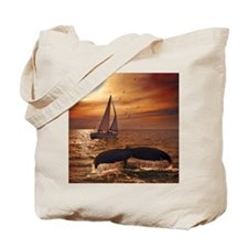 Sailing with whales Tote Bag