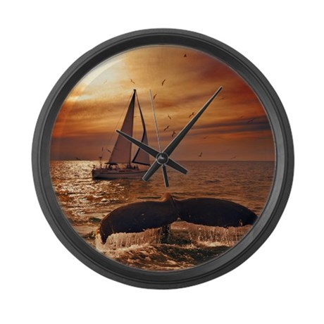 Sailing with whales Large Wall Clock