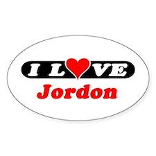 I Love Jordon Oval Decal