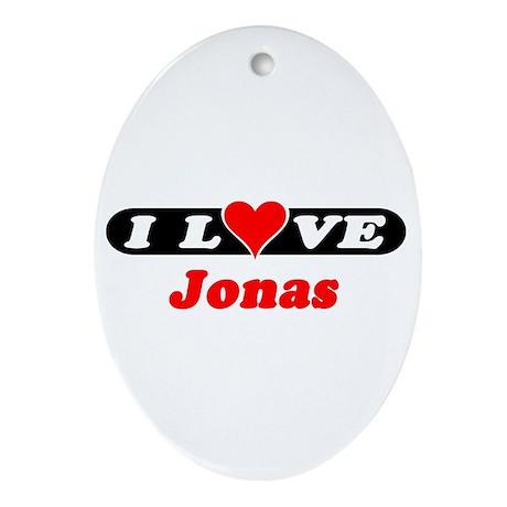 I Love Jonas Oval Ornament