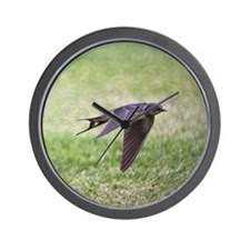 Swallow flying low over lawn. Wall Clock