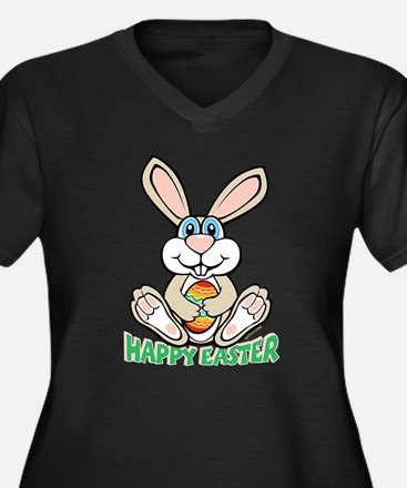 Happy Easter Women's Plus Size V-Neck Dark T-Shirt