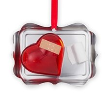 still life of red heart covered w Ornament