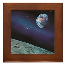 Earth and Lunar surface with star back Framed Tile