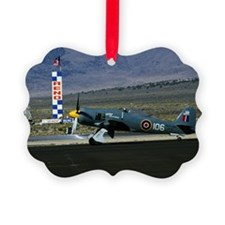 Antique military aircraft on runw Ornament