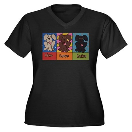LiveLoveLabs Women's Plus Size V-Neck Dark T-Shirt
