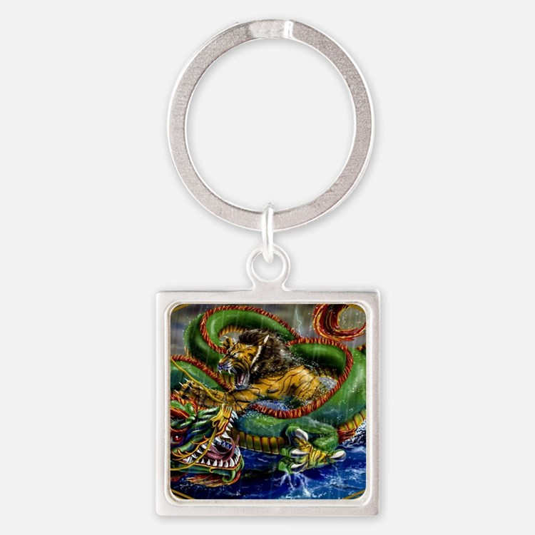 Dragon fighting liger Square Keychain