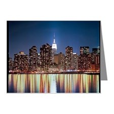Reflection of skyline at nig Note Cards (Pk of 10)