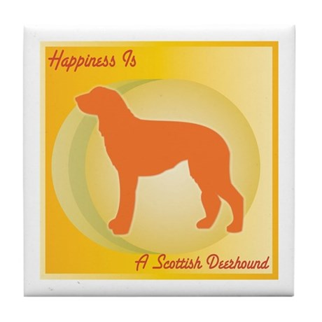 Deerhound Happiness Tile Coaster