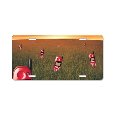 Field with cell phones Aluminum License Plate