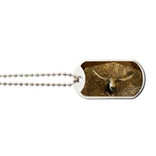 Head of longhorn steer mounted on wall Dog Tags