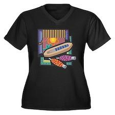 Weaving Women's Plus Size V-Neck Dark T-Shirt