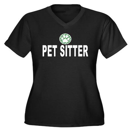Pet Sitter Green Stripes Women's Plus Size V-Neck