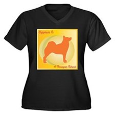 Buhund Happiness Women's Plus Size V-Neck Dark T-S