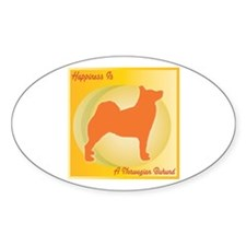 Buhund Happiness Oval Decal