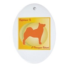 Buhund Happiness Oval Ornament