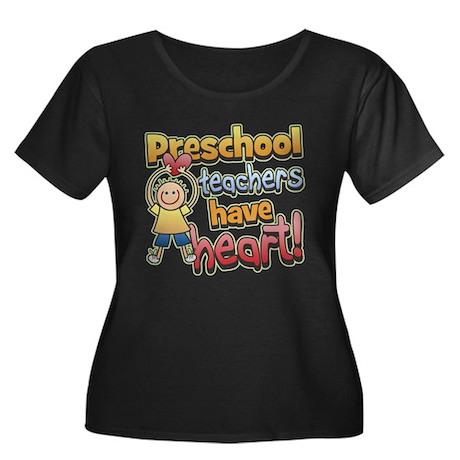Preschool Teacher Heart Plus Size Scoop Neck Tee