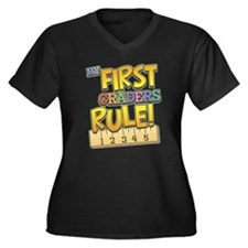 First Graders Rule Women's Plus Size V-Neck Dark T