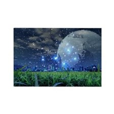 Cityscape and starry sky Rectangle Magnet