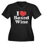 I Heart Boxed Wine Women's Plus Size V-Neck Dark T