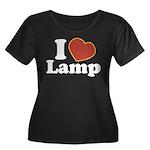 I Love Lamp Women's Plus Size Scoop Neck Dark T-Sh