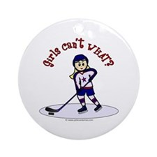 Blonde Hockey Girl Ornament (Round)