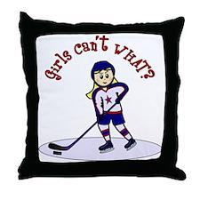 Blonde Hockey Girl Throw Pillow