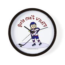 Blonde Hockey Girl Wall Clock