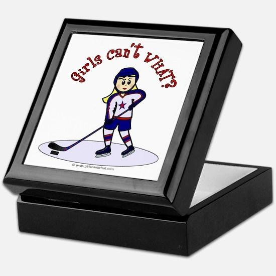 Blonde Hockey Girl Keepsake Box