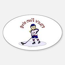 Blonde Hockey Girl Sticker (Oval)