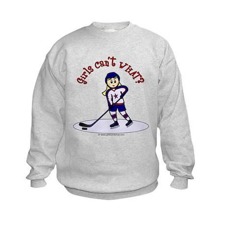 Blonde Hockey Girl Kids Sweatshirt