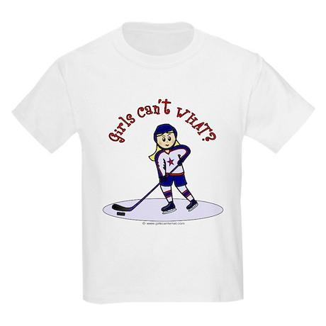 Blonde Hockey Girl Kids Light T-Shirt