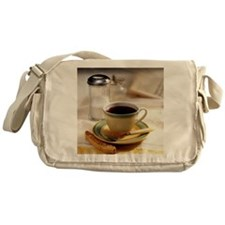 Cup of coffee with biscotti Messenger Bag