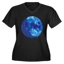 Celtic Knotwork Blue Moon Women's Plus Size V-Neck
