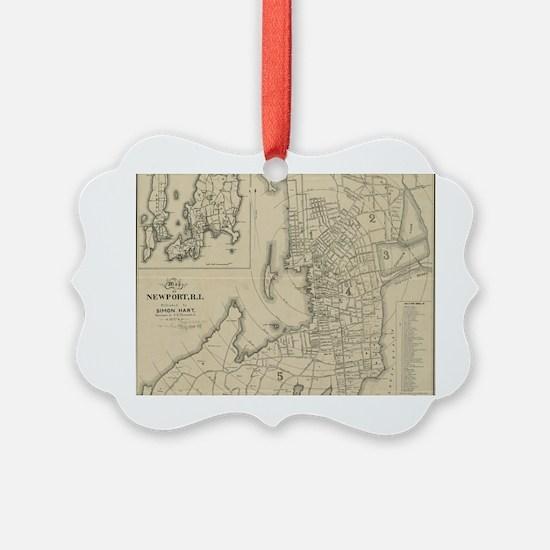 Vintage Map of Newport Rhode Isla Ornament