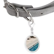 Lounge Chairs Next to Swimming  Small Oval Pet Tag