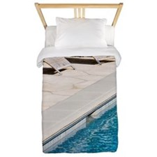 Lounge Chairs Next to Swimming Pool Twin Duvet