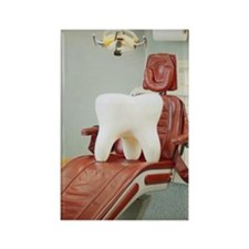 Giant tooth sitting on dentist's  Rectangle Magnet