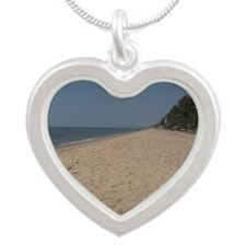 Towel on empty beach, blue s Silver Heart Necklace