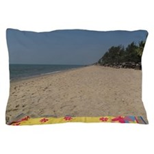 Towel on empty beach, blue skies, Fort Pillow Case