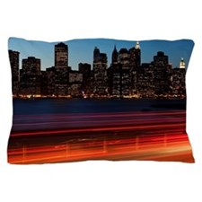 Traffic and cityscape at dusk, Manhatt Pillow Case